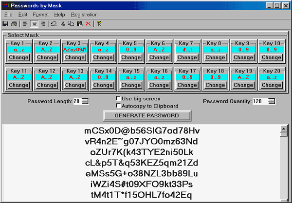 Click to view Passwords by Mask 2.09 screenshot